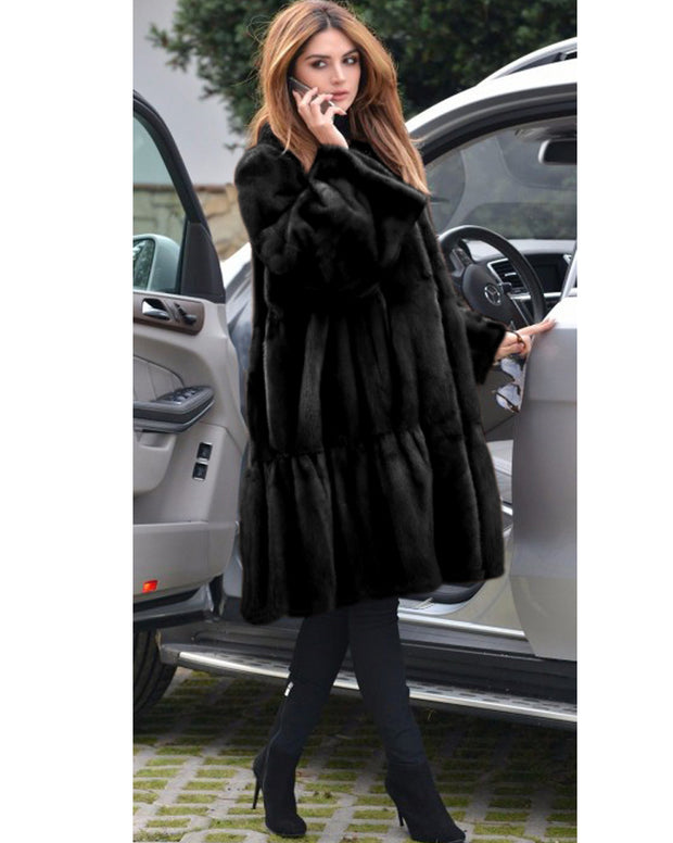 Bell Sleeve Lapel Collar Faux Fur Winter Coat