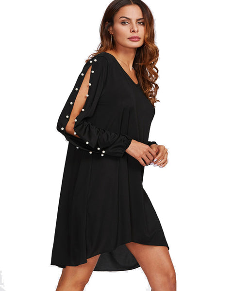 ROIII  Women's Chiffon V-neck Pearl Elegant Stylish Black Dress