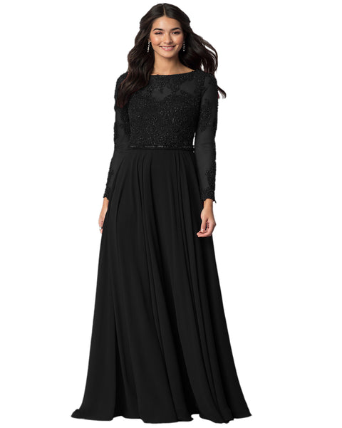 ROIII Women Long-sleeve Lace Bead Shiny Slim Floor-length Black Party Formal Dress