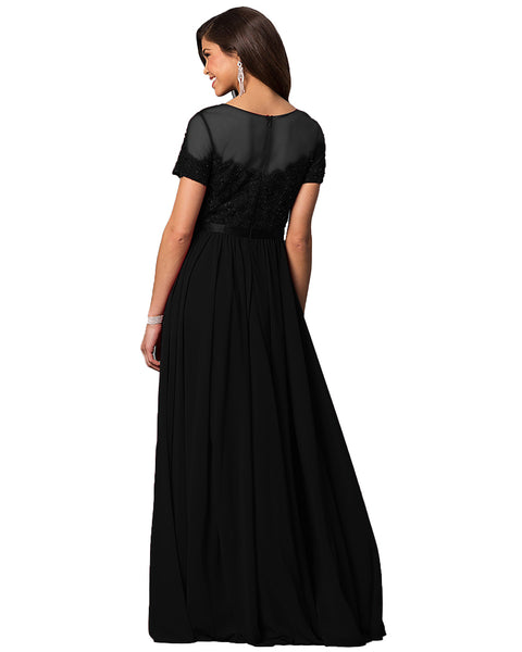 Womens Short Sleeve Chiffon Lace Maxi Dress Cocktail Party Evening Dresses Summer Beach Long Skirt