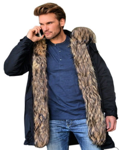 Men's Contrast Faux Fur Trim Hooded Jacket