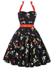Vintage Dress Women's Halter Neck 1950s Vintage Floral Pattern Swing Dress with Belt