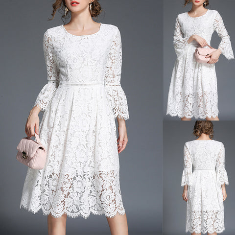 Roiii summer Crew neck intellectual lace evening dress  white color