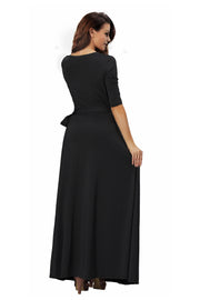 ROIII summer Womens V Neck Causual Maxi Long Jersey Cocktail Party Evening Dresses With Sleeves GRAY