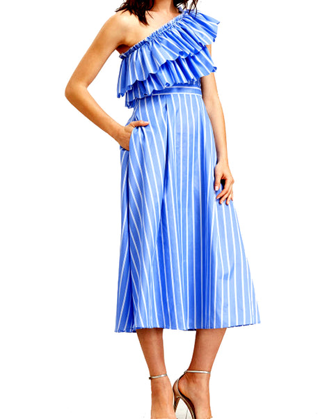 ROIII Women One Shoulder Tiered Front Striped Summer Dress