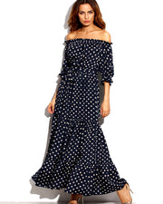 Women Polka Dot Belted Long Beach Mexi Dress