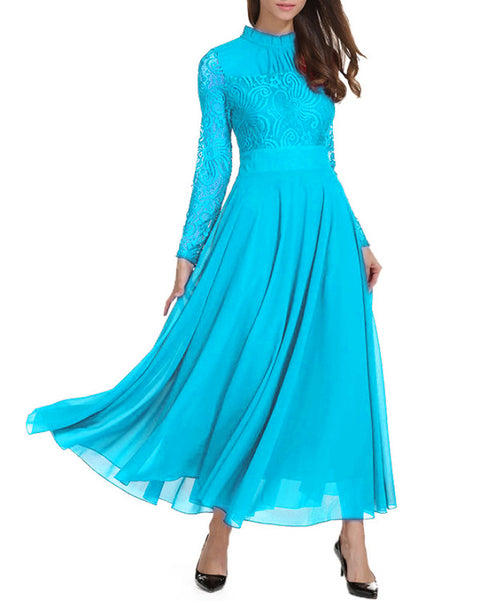 Women Light Blue Vestidos Wedding Bridesmaids Dress Lace Slim Long Party Formal Dress
