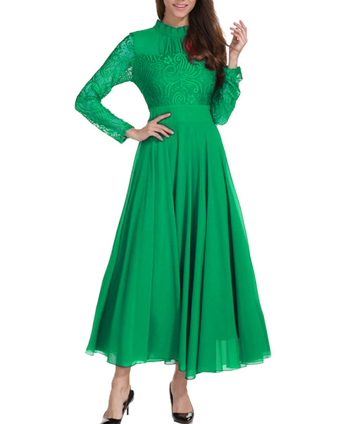 Women Green Vestidos Wedding Bridesmaids Dress Lace Slim Long Party Formal Dress