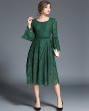 Roiii summer Crew neck intellectual lace evening dress green color