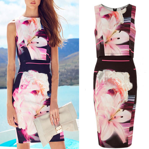 Roiii Womens Summer Beach Short Midi Dress Party Evening Cocktail Bodycon Office Holiday Sleeveless Lily Flower Pencil Dress New