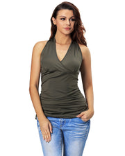 Roiii Women's Summer Tops Bandage Bodycon Slim V-Neck Casual Girls Tees T Shirt Tank Party Top Army green