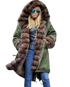 Roiii Thickened Warm Brown Faux Fur Thicken Warm Parka Button Casua Women Hooded Long Winter Jacket Coat Overcoat US Plus Size