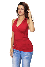 Roiii Women's Summer Tops Bandage Bodycon Slim V-Neck Casual Girls Tees T Shirt Tank Party Top red