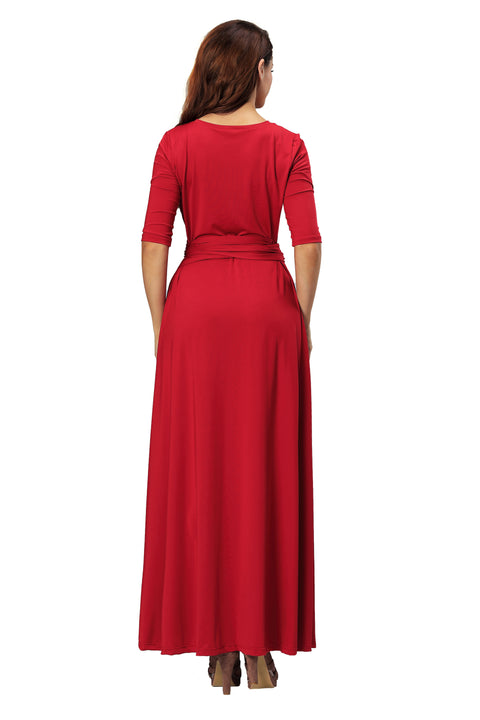 ROIII summer Womens V Neck Causual Maxi Long Jersey Cocktail Party Evening Dresses With Sleeves RED