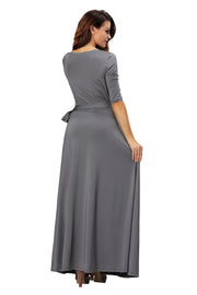 ROIII summer Womens V Neck Causual Maxi Long Jersey Cocktail Party Evening Dresses With Sleeves Black