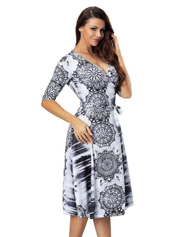 Women Casual 3/4 Sleeve V Neck Loose Tie Waist Boho Midi Wrap Plus Size Summer Dress
