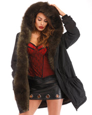 ROIII Women Winter Parka Faux Fur Hooded Dark Green Coat