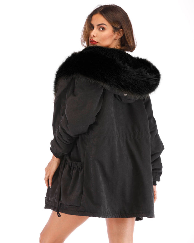 Winter Hooded Parka Faux Fur Black Jacket For Women
