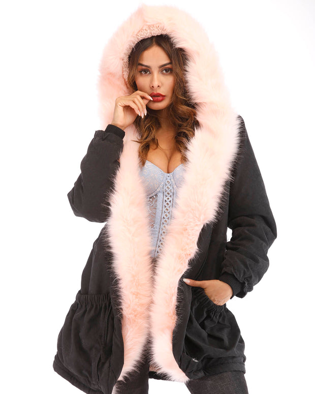 ROIII Women Winter Parka Pink Faux Fur Hooded Jacket Coat