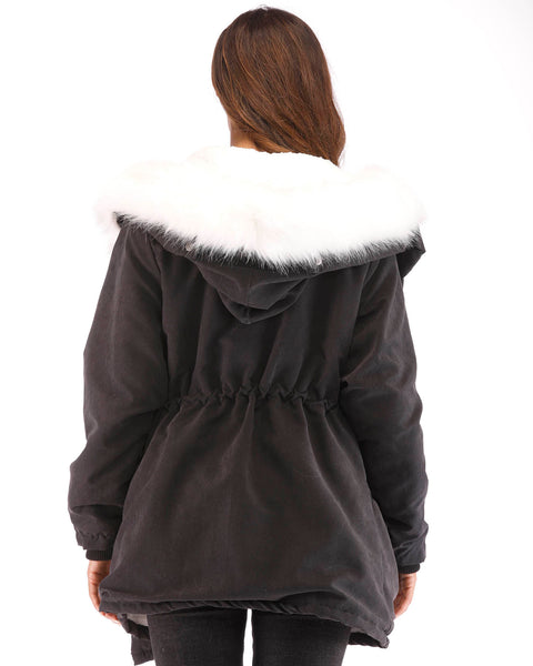 ROIII Women Winter Long Warm Coat Plus Velvet Thickening Coat