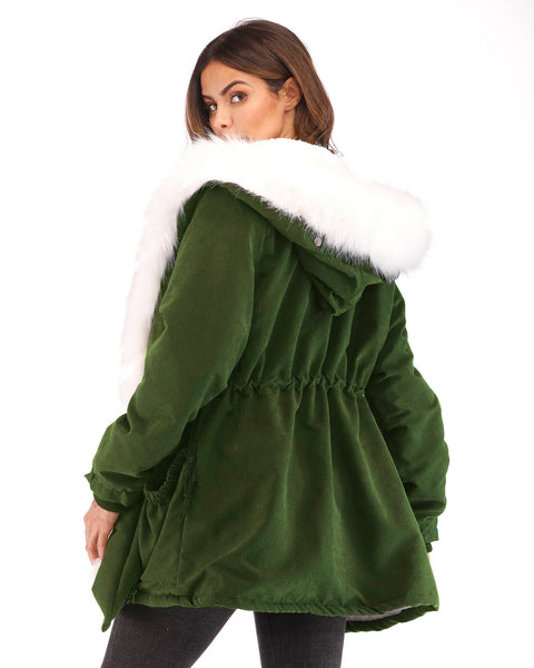 Women Winter Warm Army Green Cotton Hooded Coat