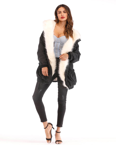 ROIII Women Winter Down Cotton Faux Fur Black Coat