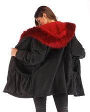ROIII Women Winter Warm Hooded  Red Faux Fur Coat