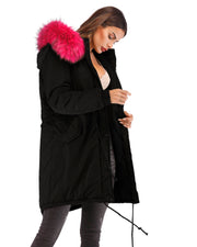 Women Winter Hooded Cotton  Parka Rose Red Faux Fur Jacket