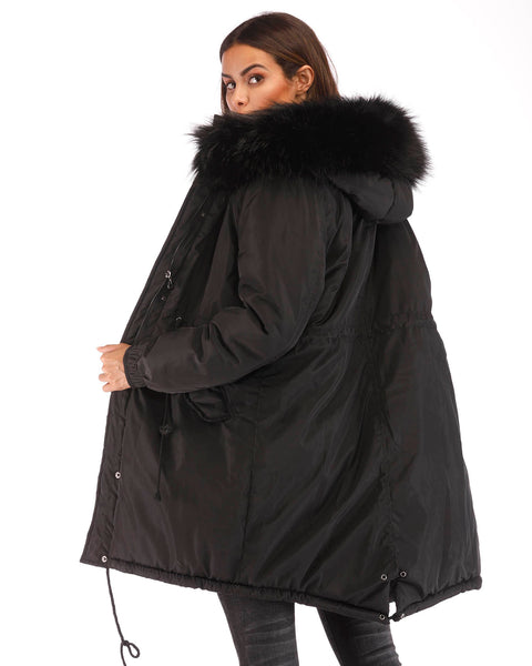 Roiii  Women Down Coat Black Long Hooded Jacket