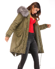Roiii Ladies Winter Warm Cotton Hooded Army Green Down Jacket