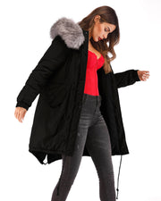 Ladies Black Cotton Hooded Warm Gray Faux Fur Coat