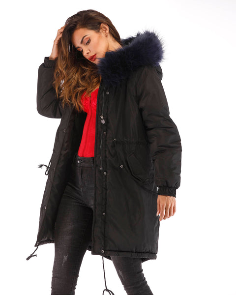 ROIII Women Winter Faux Navy Fur Front Open Jacket