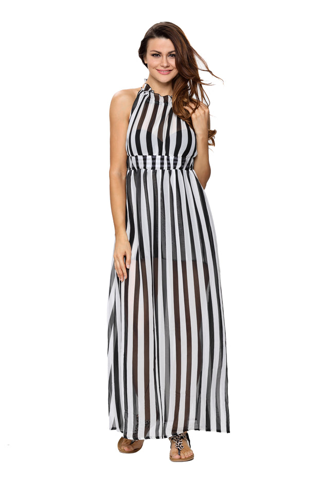 Women Summer Casual Sleeveless Floral Print A Line Stripe Dress