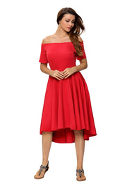 Roiii Summer Solid Casual A-Line Knee-Length Skirt Short Sleeves Slash Neck Dresses Wedding RED