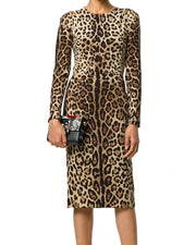 Women Bodycon Leopard Long Sleeve Dresses