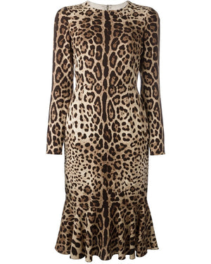 ROIII Viscose Leopard Ruffle Mermaid Hem Dresses