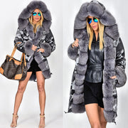 Roiii Thickened Warm Grey Faux Fur Camouflage Parka Fashion Luxury Women Hooded Long Winter Jacket Overcoat EU SIZE S-2XL-3XL