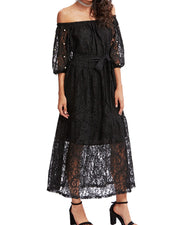 Women Pearls Beaded 3/4 Sleeve A line Belted Lace Dresses