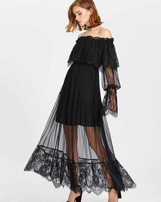 ROIII Off the Shoulder Scallop Hem Beach Dresses