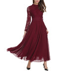 Women Wine Red Vestidos Wedding Bridesmaids Dress Lace Slim Long Party Formal Dress