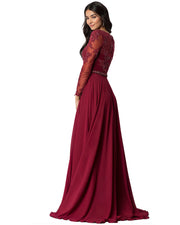 ROIII Women Long-sleeve Lace Slim Floor-length Bridal Party Formal Dress
