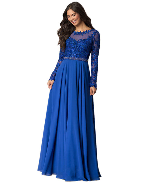 ROIII Women Long-sleeve Lace Slim Sexy Floor-length Blue Color Party Dress