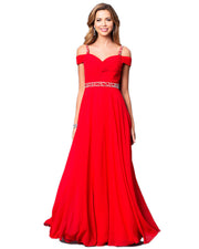 Lady Sling Strapless Shoulder Elegant Formal Red Party Dress