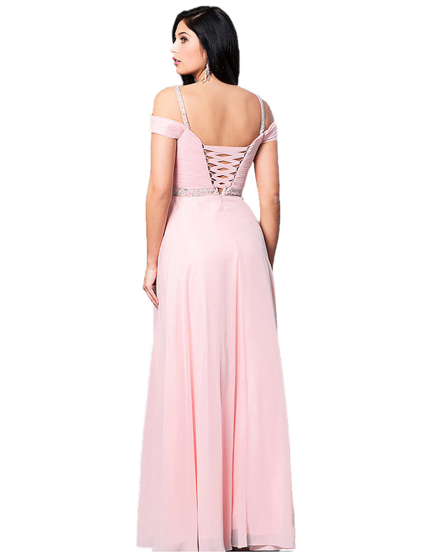 Lady Sling Strapless Shoulder Elegant Formal Pink Color Party Dress