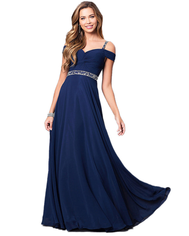 Lady Sling Strapless Shoulder Elegant Formal Navy Color Party Dress