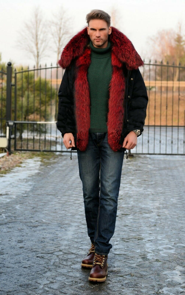 Roiii Men Loose Wine Red Faux Fur Button Closed Black Cotton Coat