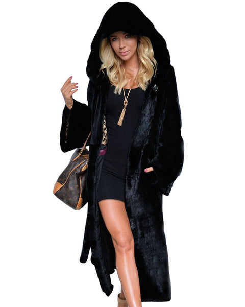 ROIII Women Ladies Winter Coat Fur Collar Hooded Long Jacket Outerwear