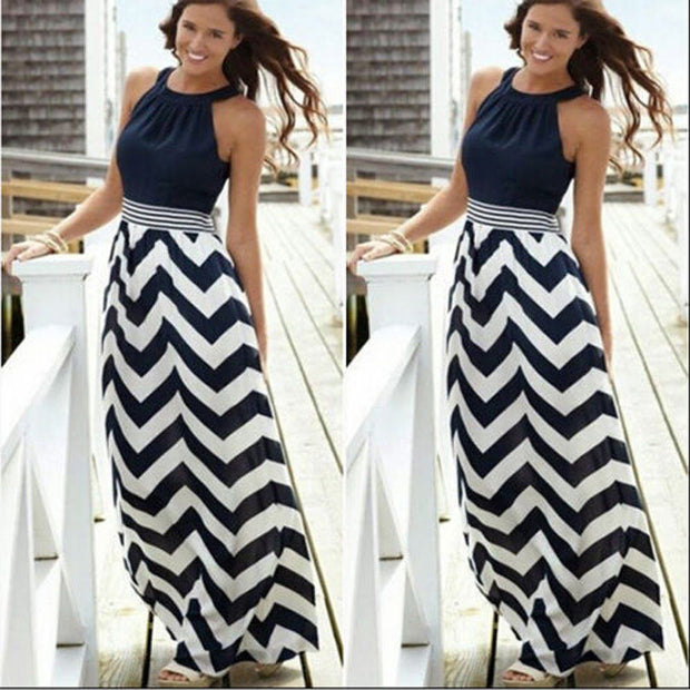 Roiii Black Womens Striped Long Skirt Summer Beach Boho Maxi Dress Ladies Party Evening Bandage Sleeveless Dresses Plus Size