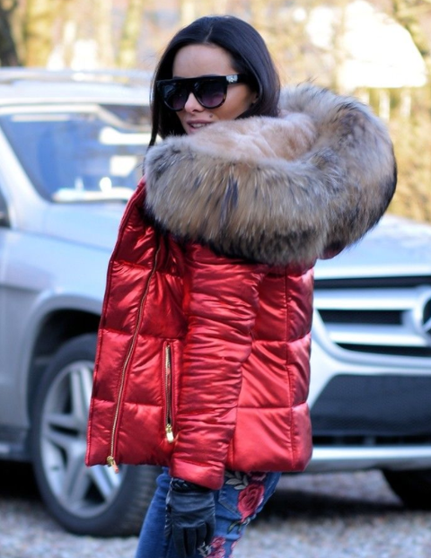 Roiii Red Parka Down Hood Faux Fur Coat Jacket