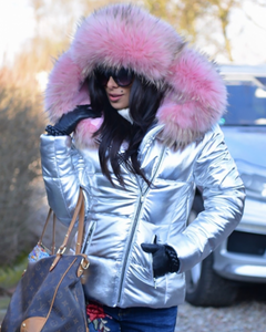 Roiii New Short Down Coat Pink Fur Jacket